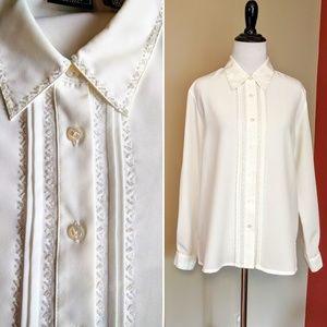 Vintage beaded Laura Scott Petite white blouse